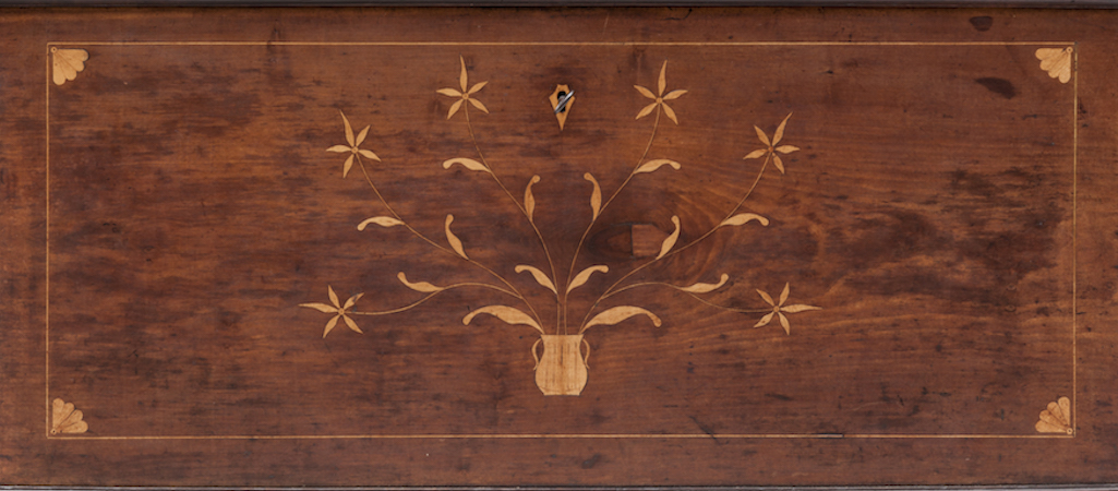 Dower chest with vine and floral inlay